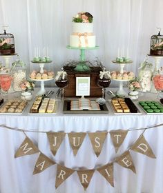 Wedding Dessert Table instead of one huge cake. Really really like this idea..