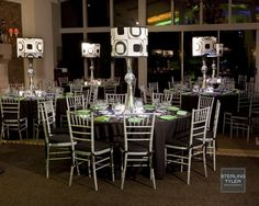 Swank Bar Mitzvah party room decor by S Originals