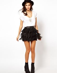 Leather Fringe Mini Skirt.. want it!! Hope its in other colors too!! :)