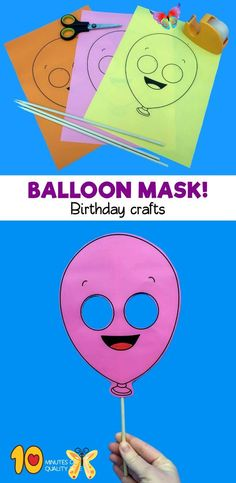 "Crafts ideas for birthday party Crafts ideas for birthday party<br> Balloon Printable Mask B&W printable [avia_codeblock_placeholder uid=""1""] Balloon Printable Mask File format - PDF Instruction – Print and color the mask as you like. Now, cut out the character and glue it with scotch tape to a skewer or a straw. Click Here for All Birthday Printables Click Here to Become a Member! Related products Printable Elephant Mask Basketball Mask Owl Paper Mask Template Printable Lion Mask Party Crafts, Birthday Crafts, Birthday Parties, Paper Mask, Paper Mache Mask, Printable Masks, Printables, Lion Mask, Mask Template"