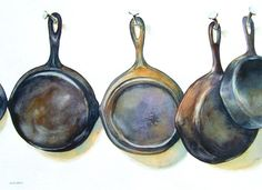 Dwight Smith: Pans Without Pots Watercolor Food, Watercolor Artwork, Watercolor Sketch, Watercolor Portraits, Collections Of Objects, Kitchen Art, Kitchen Shop, Hyperrealism, Painting Still Life