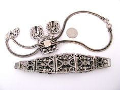 Vintage SELRO SELINI Clear Rhinestone Bolo by jwvintagejewelry