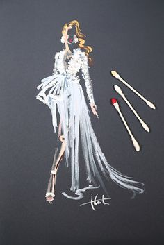 This Artist Painted Oscars Gowns Using Only Q-Tips.