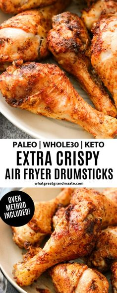 Learn how to make these and keto air fryer drumsticks EXTRA crispy and addicting. Oven method is also included in case you don't own an air fryer! fryer recipes chicken whole Extra Crispy Air Fryer Drumsticks (Paleo, Keto) - Oven Method Included Air Fryer Dinner Recipes, Air Fryer Recipes Easy, Lunch Recipes, Paleo Recipes, Real Food Recipes, Air Fryer Rotisserie Recipes, Easy Recipes, Ninja Recipes, Oven Recipes