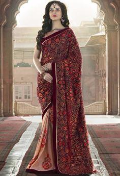 Maroon Designer Rajsthani Resham Saree@ fashionsbyindia.com #designs #indian #fashion #womens #style #cloths #fashion #stylish #casual #fashionsbyindia #punjabi #suits #saree #wedding