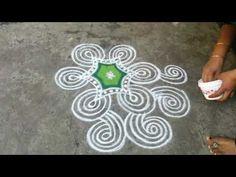 Navarathri kolam Day-6 GREEN/Vijayadasami Padikolam/Navarathri Padikolam/KOLAM-1 - YouTube