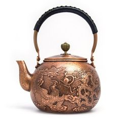 Collectible Decorated Silver Copper Handwork Carved Bring Money Coin Tea Pot