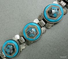Bracelet Concho Panel Hexagon Links Turquoise Etched Silver Tone Flecked Centre