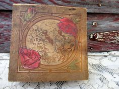 Antique Pyrography box burned carved wood Box Fairy Nypmph Girls with flowers and Sheep