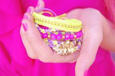 Sale! Neon friendship bracelets  Stackable arm candy wrap by CarnivalLab, $24.50