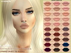 Sims 4 Updates: TSR - Make Up, Lips : FLAT VELVET LIPSTICK by ANGISSI, Custom Content Download!