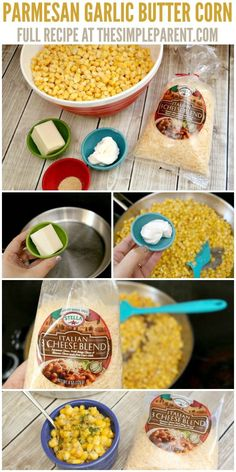 Parmesan Garlic Butter Corn is one of our favorite easy side dishes! Learn how simple it is to make! Mexican Corn Side Dish, Taco Side Dishes, Dinner Side Dishes, Food Dishes, Baking Dishes, Corn Recipes, Side Dish Recipes, Easter Recipes, Bon Appetit