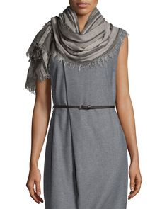 Plaid Scarf with Fringe, Brown/Grey - Peserico