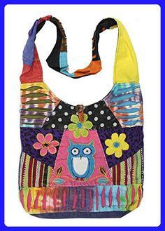 7b1fcf8476 KayJayStyles Hippie Hobo Sling Cross body Pocket Owl Bag Nepal - Crossbody  bags ( Amazon