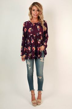 Charleston Floral Top in Royal Plum