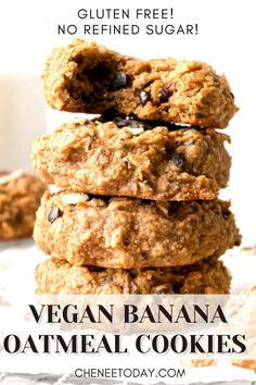 Easy, healthy vegan banana oatmeal cookies that are gluten free and refined sugar free! These soft, chewy breakfast cookies are one of the best simple gf recipes, with peanut butter, banana, and superfood cacao for chocolate flavor! Great recipe for kids! Videos coming soon! #veganoatmealcookies #vegancookies #bananaoatmealcookies #veganbreakfastcookies #breakfastcookies #glutenfreecookies