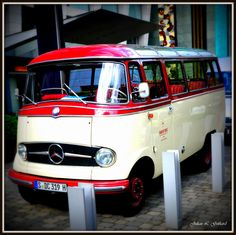 One of Daimler's vintage vans on press duty outside the Radisson Hotel in Dusseldorf, Germany (May 2013).