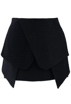 Asymmetric Black Bud Skirt - Skirt - Bottoms - Retro, Indie and Unique Fashion