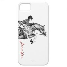 Cute equestrian hunter jumper iphone cell phone case featuring a classic and stylish jumping horse with a rider and customizable with your own name too! A great gift for the horse lover out there! #horses