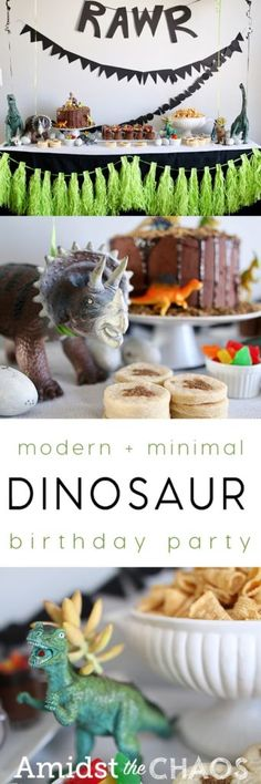 A Minimal, Modern Dinosaur Birthday Party - Amidst the Chaos