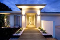 Front entry and deck of a contemporary new home in Australia.