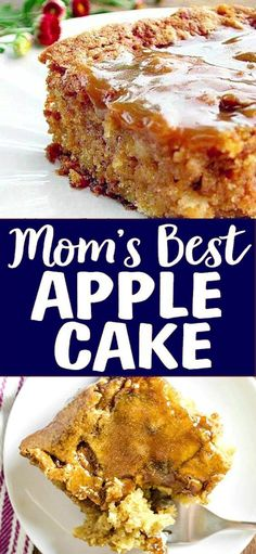 The ingredients for this Mom's Best Apple Cake are so simple and it comes out perfect every time! This is the only Apple Cake Recipe you will ever need. Healthy Apple Cake, Healthy Apple Desserts, Apple Dessert Recipes, Easy Cake Recipes, Easy Desserts, Delicious Desserts, Easy Apple Cake, Apple Recipe Easy Healthy, Recipe For Apple Cake