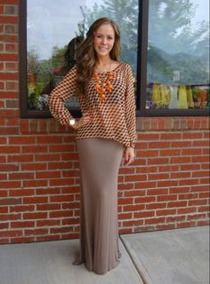 Seeing in 3D Top, $44.99 (sizes S-L)  Jersey Knit Maxi Skirt, $39.99 (sizes S-L)  Bubble Necklace, $34.99