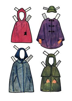 Sound of Music   Four out of the eight traveling cloaks  Paper dolls