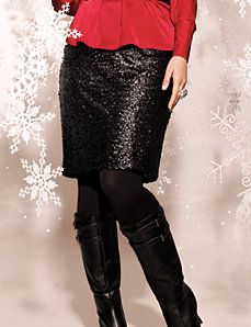 I'd combine this with the gold sleeveless top. Plus Size Sequin Pencil Skirt by Lane Bryant #LB12Days
