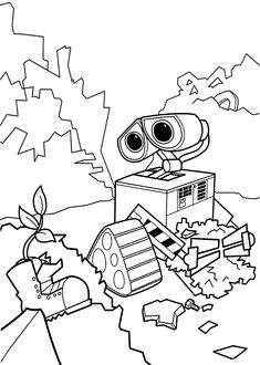 Wall E And Plant Coloring Pages For Kids Printable Free