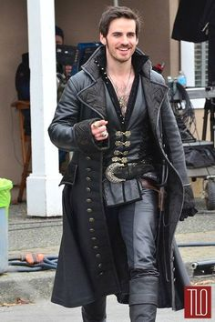 This Long black coat inspired form Once Upon A Time movie Captain Hook worn this. Leather Trench Coat, Leather Jacket, Pirate Jacket, Pirate Garb, Pirate Cosplay, Steampunk Pirate, Colin O'donoghue, Captain Hook, Captain Swan