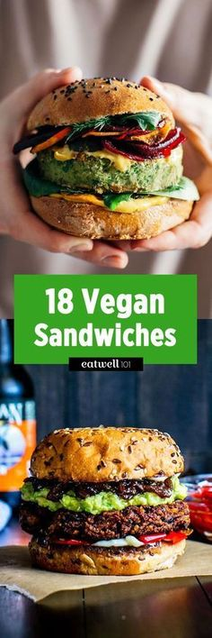 Filled with healthy natural plant-based ingredients these 18 vegan sandwiches recipes are your one-stop shop to total breakfast lunch or any time of the day! Vegan Lunches, Vegan Foods, Vegan Dishes, Lunch Meals, Diet Meals, Vegan Sandwich Recipes, Vegetarian Recipes, Healthy Recipes, Sandwich Ideas