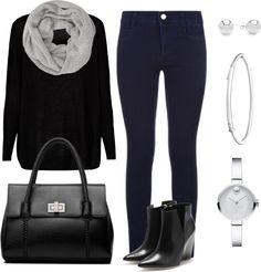 Mis combinaciones diarias: Blusa Negra Pantalón Azul Oscuro