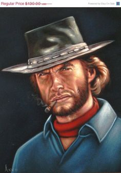 ON SALE Clint Eastwood badass cowboy legend by VelvetPaintings, $117.00