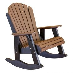 amish made rocking chair? | Amish Polywood Adirondack Rocker - Tudor Brown on Black
