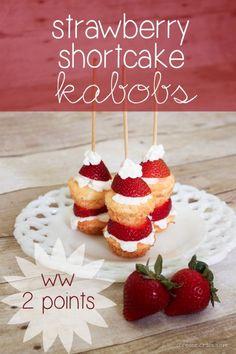 Strawberry Shortcake Kabobs - only 2 WW points!  via createcraftlove.com #strawberries #weightwatchers #recipes