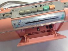 Vintage 80s Sharp QT50 Pastel Pink Boombox Radio by witchtrials. i owned this