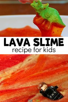 This lava slime is easy to make and only uses a few ingredients. It's perfect for a preschool dinosaur theme or as part of your favorite Star Wars activities. What fun science and sensory play for the kids! Early Learning Activities, Sensory Activities, Sensory Play, Activities For Kids, Preschool Dinosaur, Dinosaur Play, Preschool Science, Slime For Kids, Preschool Lesson Plans