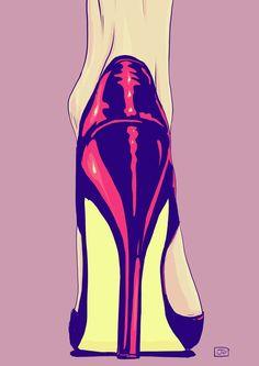Heels pop art by Giuseppe Cristiano Bd Pop Art, Shoe Art, Erotic Art, Art Blog, Painting & Drawing, Colour Drawing, Fashion Art, Art Drawings, Art Photography