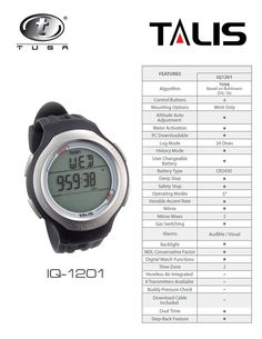 Features advanced 2 gas watch computer, air, Nitrox, gauge, free dive and watch operating modes, 2 mix switch feature, mix 1 (Air, 21-50%), Mix 2 (Air, 21-100%), step-Back feature and dual time capable. Available in colors: Black and White (color accents: Blue and Pink)