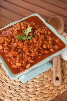 "Slow Cooker Mango BBQ Baked Beans - Tangy, saucy, and savory-sweet, these easy (and vegan!) Crock Pot beans practically scream ""summer barbecue!"""
