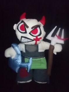 Bespoke portrait cloth doll. Evil gardener with removable handmade by hell Buddies  https://www.facebook.com/Hellbuddies