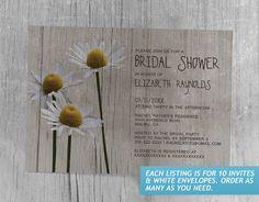 Rustic Daisies Bridal Shower Invitations