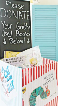 Make A Book Donation Station - Encourage Giving In Tweens - Niche School Donations, Book Donations, Donation Quotes, Birthday Book, Birthday Ideas, Library Displays, Book Displays, Little Library, Library Books