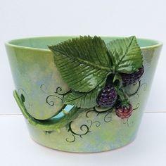 Blackberries Yarn Bowl by TwinkleberrieDesigns on Etsy Ceramic Clay, Ceramic Bowls, Ceramic Pottery, Pottery Supplies, Craft Supplies, Yarn Bowl, Elegant Flowers, Creative Skills, Etsy Uk