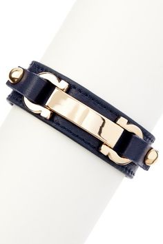 Gold & Navy ID Bar &  Horseshoe Leather Bracelet by Olivia Welles on @HauteLook
