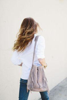 Jeans: could i have that, blogger, suede bag, bucket bag, boho chic, fringed bag, nude bag - Wheretoget