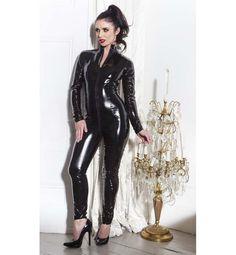 Women's Sexy Black PVC Catsuit N10992