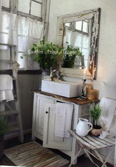 Fabulous small country bathroom - love this as a powder room or maybe with a small shower for the attic guest suite