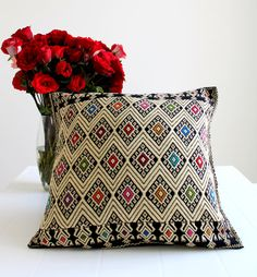 Hand embroidered Black Cushion Cover from Chiapas / Mexican textile pillow case / stitched decorative pillow cover / Bed cushion cover
